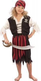 Piraten-Mädchenkostüm Seeräuber schwarz-rot