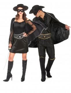 Zorro-Paarkostüm Erwachsene schwarz