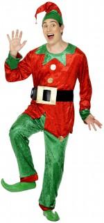 Weihnachtself Kostüm Deluxe Weihnachts-Wichtel rot-grün