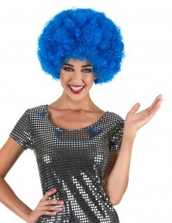 Afro Locken-Perücke Faschingzubehör blau