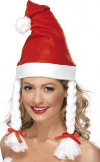 Weihnachtsmütze mit Zöpfen Weihnachten rot-weiss