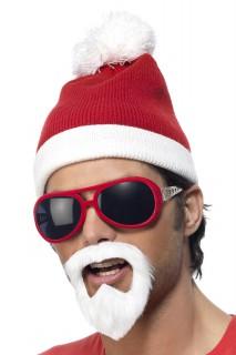 Weihnachtsmütze-Set mit Brille und Bart 3-teilig rot-weiss