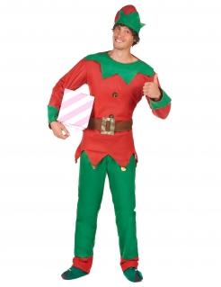 Elfen-Kostüm für Herren weihnachtliche-Verkleidung grün-rot