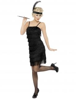 20er Partykleid Damenkostüm schwarz