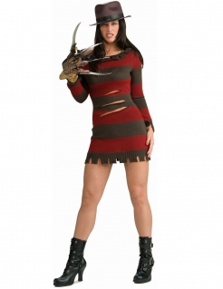 Miss Freddy Krueger Lizenzkostüm Halloween-Damenkostüm braun-rot