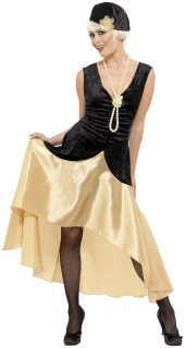 Partykleid Zwanziger Kostüm schwarz-gold