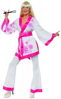 70er Jahre Popstar Damenkostüm weiss-pink