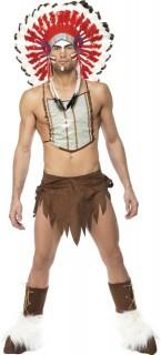 Indianer-Herrenkostüm Village People Indianer braun-weiss-rot