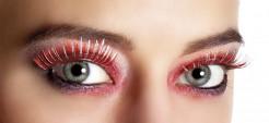 Kunstwimpern Make-up rot-silber