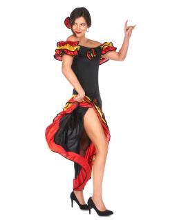 Spanische Tänzerin Damenkostüm schwarz-gelb-rot