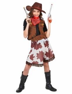 Klassisches Cowgirl Kinderkostüm Wildwest braun-weiss