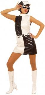 Sixties Lackkleid 60er Kostüm M schwarz-weiss