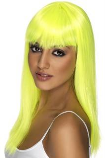 Glatte Neon-Perücke für Damen gelb