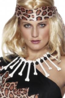 Steinzeit Knochen Halskette weiss-schwarz