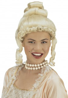 Adelige Barock-Damenperücke mit Korkenzieherlocken blond