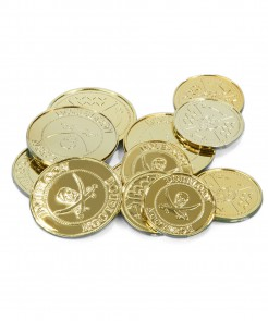 Münzen Goldstücke Piraten-Accessoires 12 Stück gold