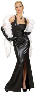 Filmdiva-Damenkostüm Abendkleid schwarz