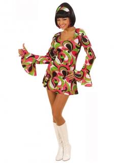 Damen-Kostüm - Disco-Fashion-Queen - grün/weiß/schwarz/rot