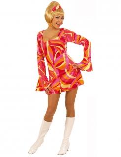 Minikleid Damenkostüm Disco 70er bunt