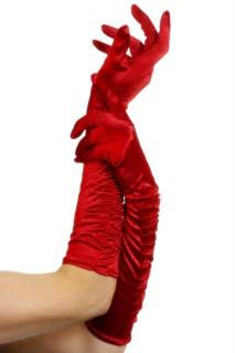 Satin-Handschuhe lang rot