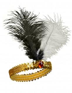 Charleston Pailletten-Stirnband schwarz-weiss
