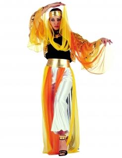 Orientalische Bauchtänzerin Damenkostüm Harem gelb-orange-silber