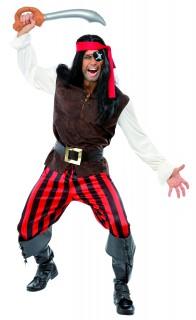 Pirat Kostüm schwarz-rot-braun