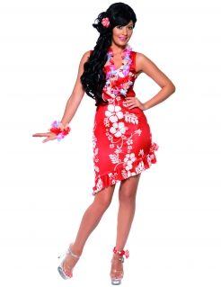 Hawaii Kleid Damenkostüm rot-weiss