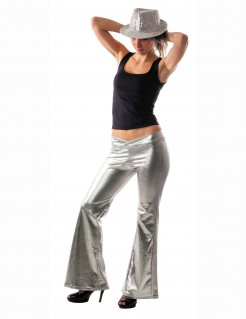 70er Disco Glitzer-Schlaghose Damen silber
