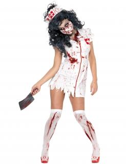 Zombie-Krankenschwester-Damenkostüm Halloween weiss-rot