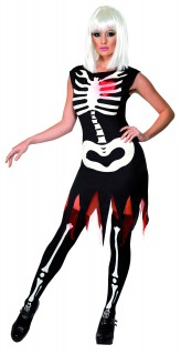 Nachtleuchtendes Knochen Skelett Halloween Damenkostüm schwarz-weiss