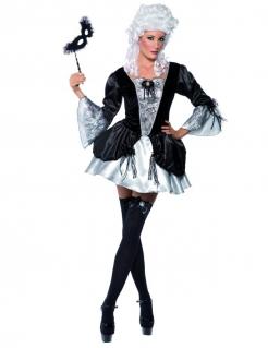 Barock Gräfin Vampir Damenkostüm schwarz-silber
