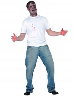 Messer im Rücken Halloween-Shirt mit 3D Effekt weiss