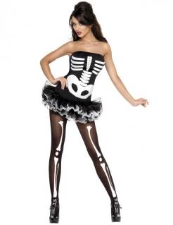 Skelett Knochen Halloween Damenkostüm schwarz-weiss