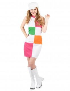 Disko-Kleid Damenkostüm weiss-pink-grün