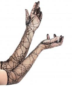 Spinnennetz Handschuhe Kostüm-Zubehör schwarz