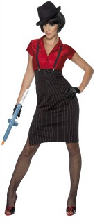Gangsterbraut Damenkostüm schwarz-rot