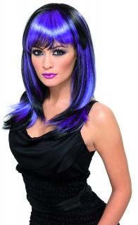 Glamour Hexen Perücke schwarz-lila