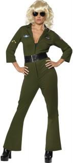 Heiße Pilotin Kostüm grün