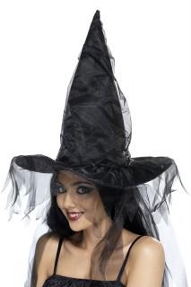 Hexenhut mit Schleier schwarz