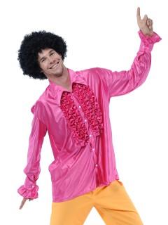 Disco Rüschen-Hemd für Herren rosa