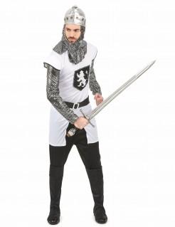 Tapferer Ritter-Kostüm Mittelalter weiss-grau-schwarz