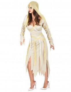 Sexy Mumien-Damenkostüm beige-weiss-gelb