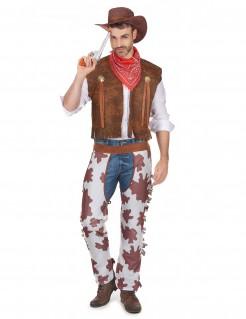 Klassisches Cowboy Kostüm Wildwest braun-weiss