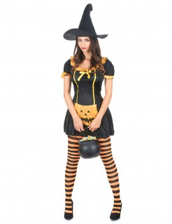 Hexen-kostüm Kürbishexe Halloween schwarz-orange