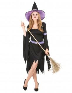 Glamouröses Hexenkostüm schwarz-lila