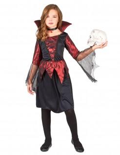 Vampirlady Halloween Kinderkostüm schwarz-rot