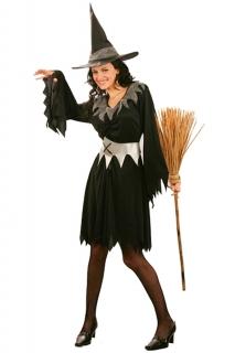 Halloween Hexenkostüm schwarz-silber
