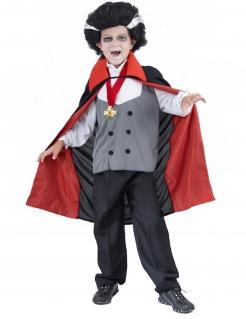 Vampir Kinderkostüm Halloween grau-schwarz-rot