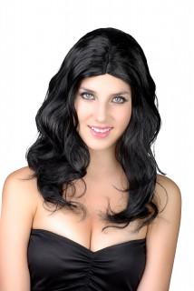 Damen Langhaarperücke Gewellte Kostümperücke schwarz